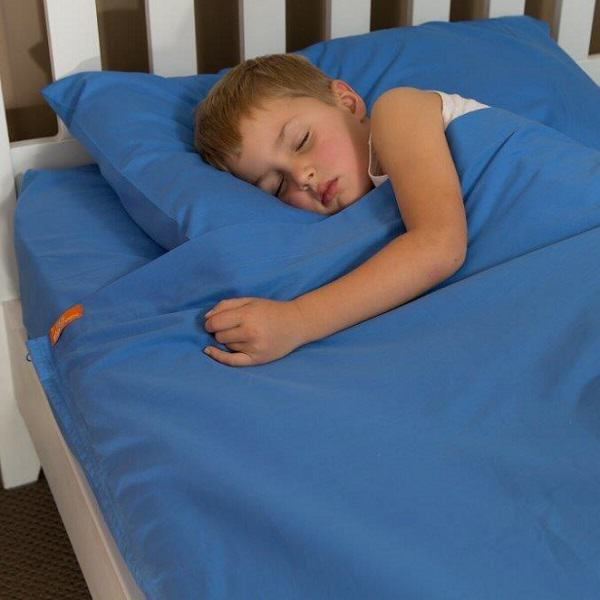 Twin Size Bright Blue Cotton Kids Zip Sheets Zippered Sheets