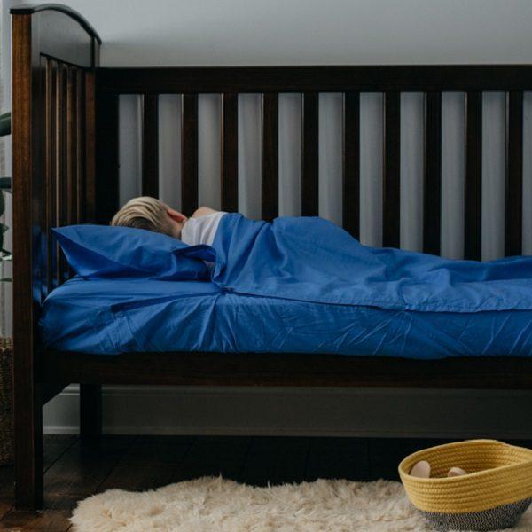 Bright Blue Cotton Kids Zip Sheets Crib Size