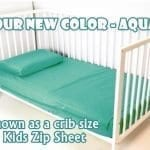 Aqua Cotton Toddler Kids Zip Sheets