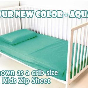 Aqua Cotton Kids Zip Sheets Toddler Crib Sheets