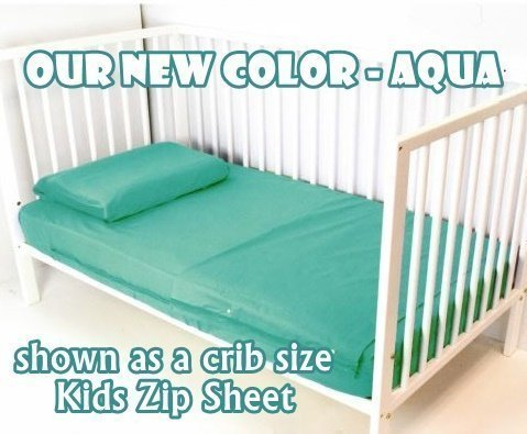Aqua Cotton Kids Zip Sheets Toddler Crib